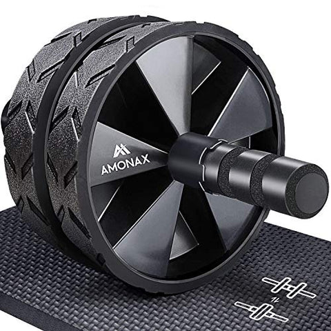 Convertible Ab Wheel Roller with Large Knee Mat for Core Abs Rollout Exercise