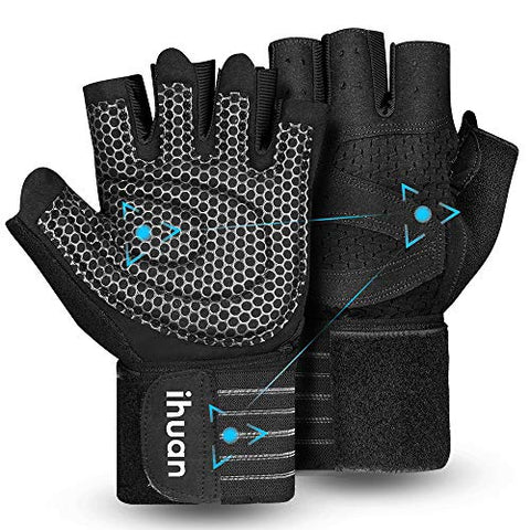 Weight Lifting Gym Workout Gloves with Wrist Wrap Support for Men & Women