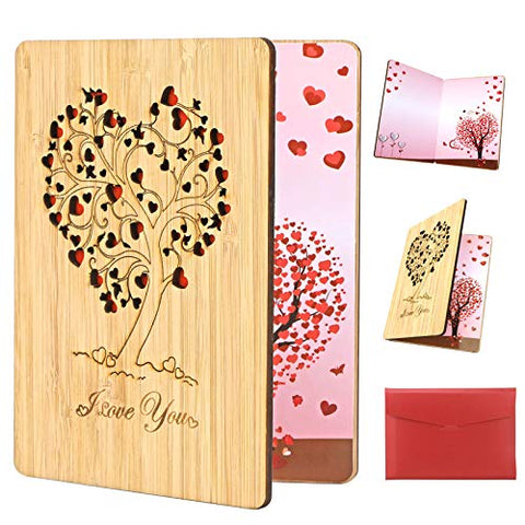 Handmade Walnut Wood I Love You Card, Wooden Love Greeting Cards