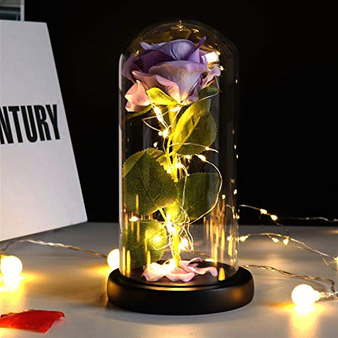Artificial Flower Silk Rose LED Light Infinity Forever Rose Glass Kit Gift