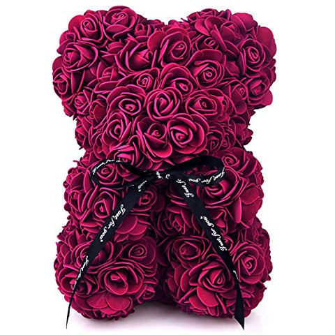 Rose Bear 10 Inch Rose Teddy Bear Gift , Over 200+ Flowers