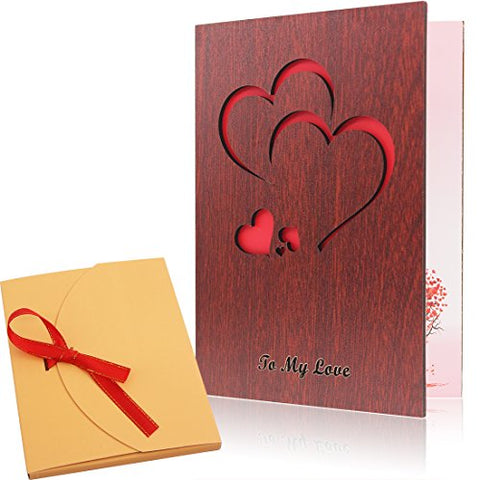 Handmade Walnut Wood Love Greeting Card