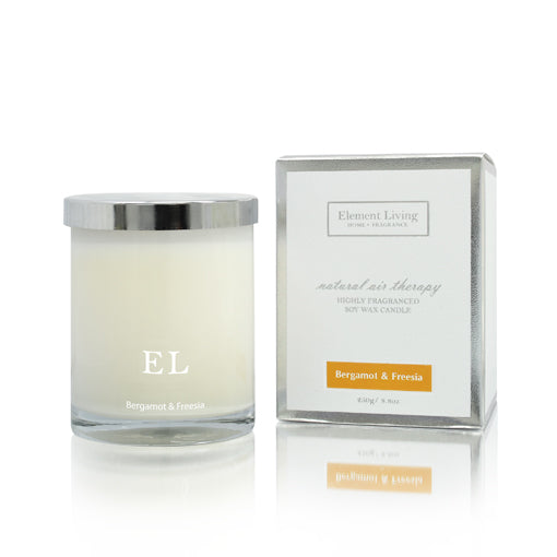 Element Living Bergamot & Fressia Scented Soy Candle