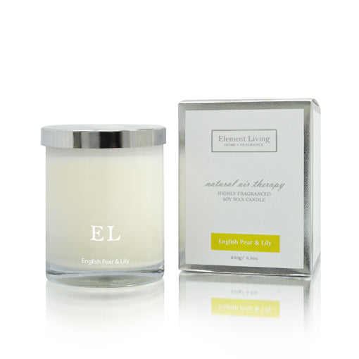 English Pear & Lily Scented Soy Candle 250g - Aroma di Casa