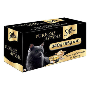 Sheba Deluxe Tuna & Prawn in Gravy, Premium Wet Cat Food 85 g (Pack of 4 Cans)