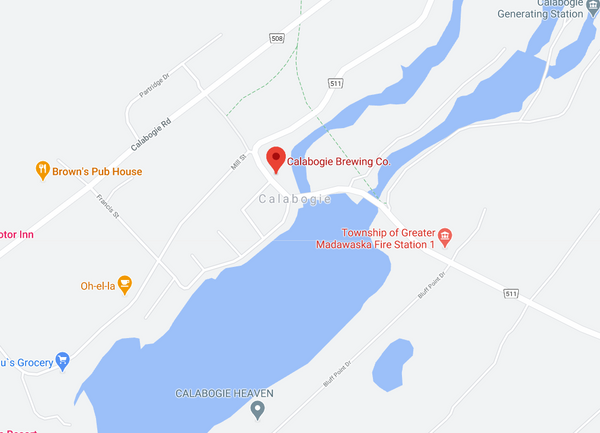 Calabogie, Ontario Brewery Taproom Location Map