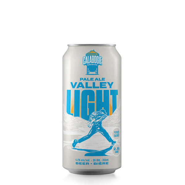 355 ml Can of Calabogie Brewing Pale Ale Valley Light on the can you see a hiker jumping over river with mountians surrounding. In bubbles on side see 110 Calories & 2.8g of Carbs. Underneath you see 4.2% alc/vol 20 IBU 355 ml Beer