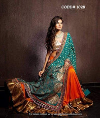 1028 Orange-teal lehenga