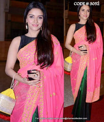 3052 Asin's pink-green saree