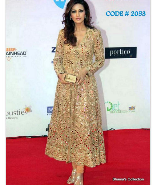 2053 Sonali Bendre's golden mirror work A-line suit