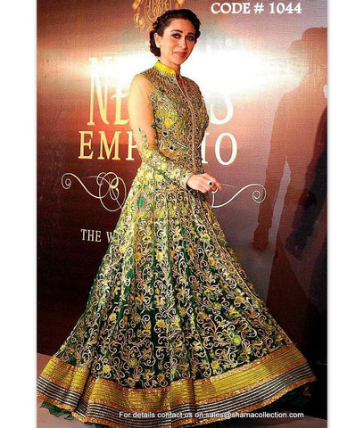 1044 Karisma Kapoor's green-yellow-blue anarkali lehenga