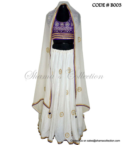 B003 Purple white lehenga set