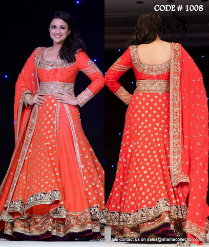 1008 Pareeniti Chopra's red anarkali lehenga