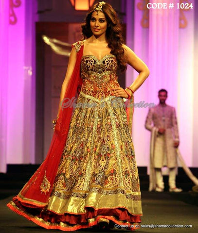 1024 Bipasha Basu's red-gold anarkali lehenga