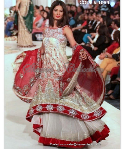 1055 Red and off white bridal anarkali lehenga