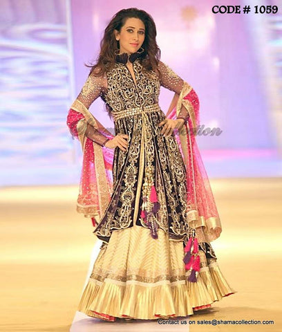 1059 Karishma Kapoor's deep purple-rani pink-golden high low anarkali lehenga