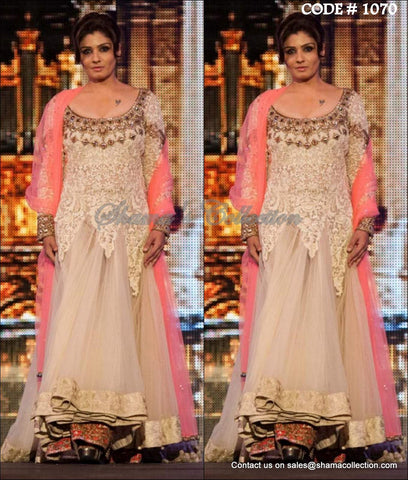 1070 Raveena Tandon's cream bridal anarkali lehenga