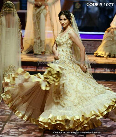 1077 Off white bridal anarkali lehenga
