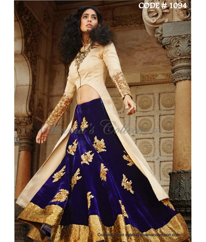 1094 Navy blue-beige bridal anarkali lehenga