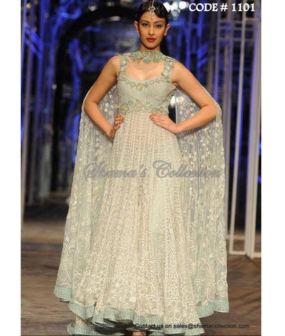 1101 Off White and Mint anarkali gown