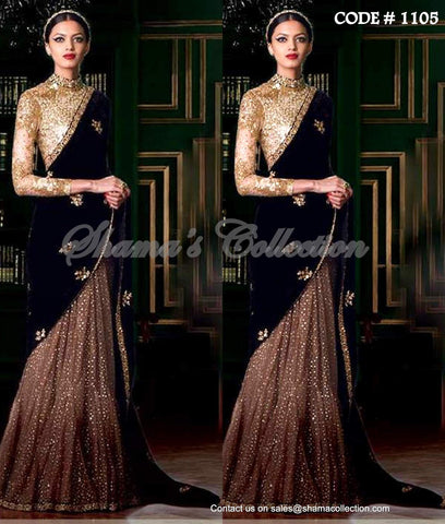1105 Glittery Gold - Black Lehenga Saree