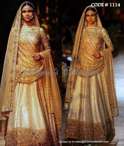 1114 White-gold bridal lehenga