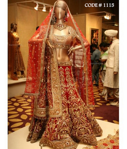 1115 Red gold bridal lehenga