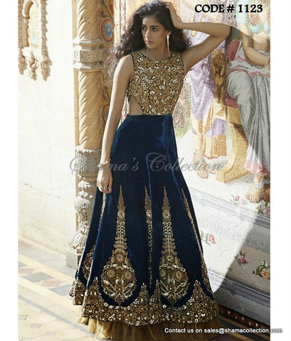 1123 Blue cutout bridal anarkali gown