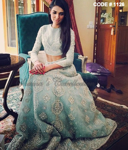 1126 Powder blue bridal lehenga