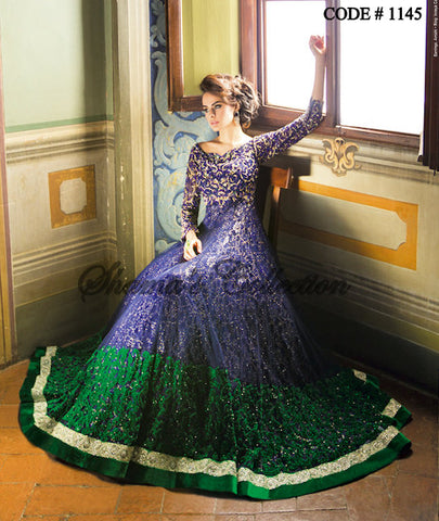 1145 Peacock color inspired bridal gown