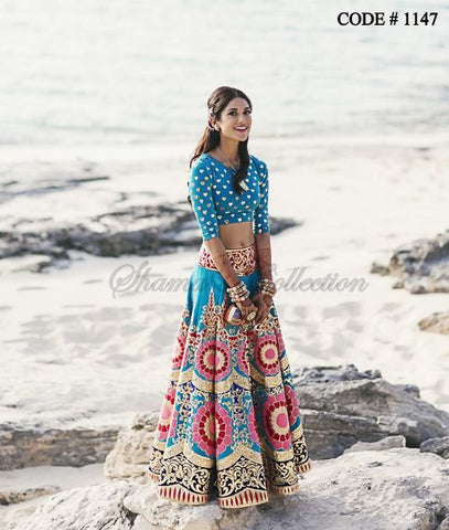1147 Peacock blue bridal lehenga