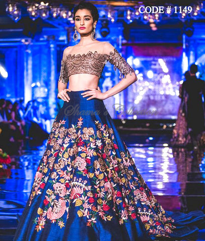 1149 Blue lehenga with copper brown off shoulder blouse