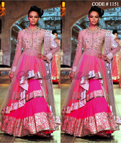 1151 Beige-Pink high Low Anarkali Lehenga