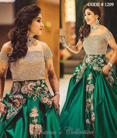 1209 Green Lengha With Golden Offshoulder Blouse
