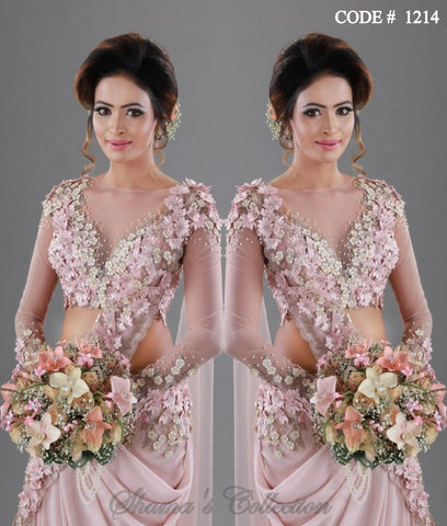 1214 Blush Bridal Saree Gown