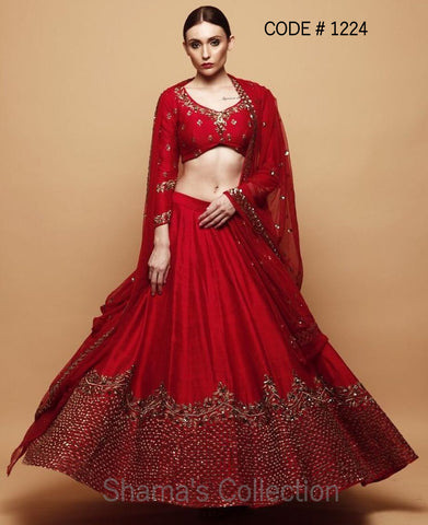 1224 Red Bridal Lengha In Raw Silk