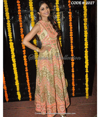 2027 Shilpa Shetty's beige-neon pink-neon orange anarkali frock