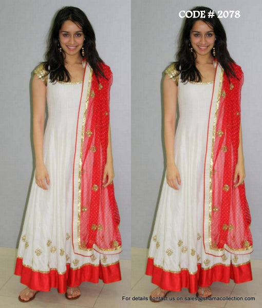 2078 Shraddha Kapoor's red-white anarkali