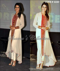 2220 Genelia D'souza's off white high-low anarkali