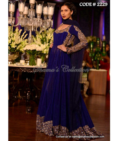 2229 Navy blue anarkali gown