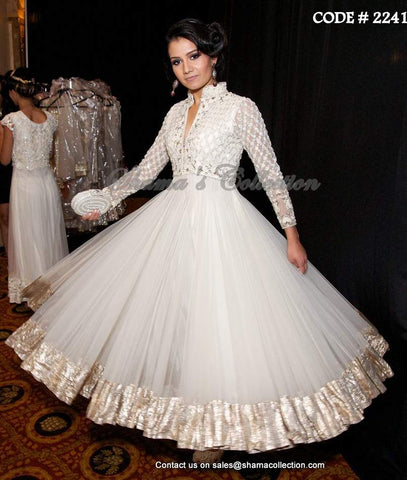 2241 Off white anarkali gown