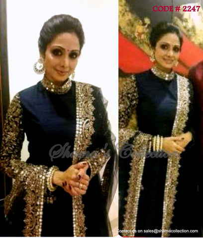 2247 Sridevi's black anarkali gown