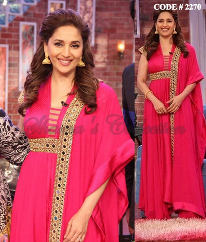 2270 Madhuri Dixit's hot pink umbrella cut anarkali and palazzo