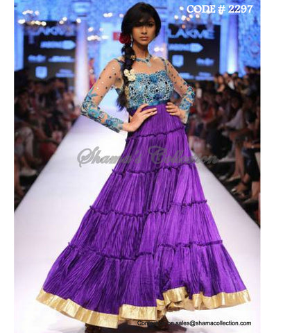 2297 Purple blue layered anarkali gown
