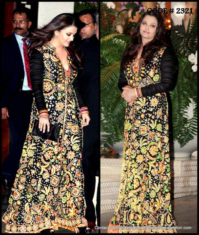 2321 Aishwarya Rai Bachchan's black and colorful anarkali gown