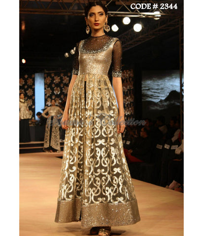 2344 Black-gold anarkali lehenga
