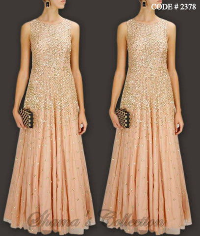 2378 Peach Sequin Gown