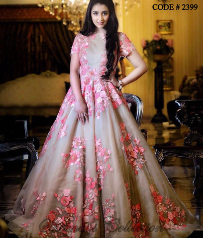 2399 Beige Pink Floral Gown