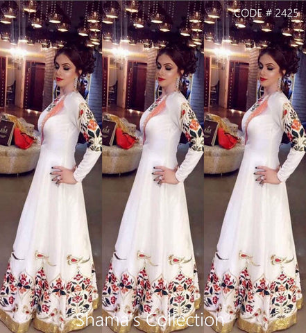 2425 White Anarkali Gown with Colorful Work