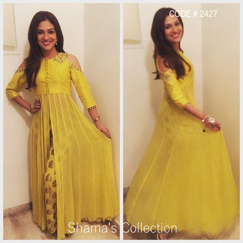 2427 Ridhima Pandit in Yellow Cold Shoulder Anarkali with Parallel Pants